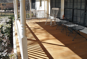 click to see even larger image of same pine porch decking after oil application.