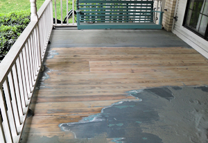 click to see even larger image of partially sanded pine-porch decking.